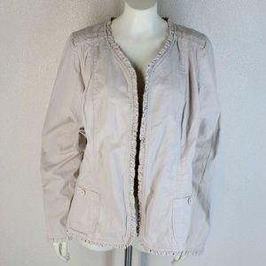 Torrid || Tan Ruffled Detail Long-Sleeve Jacket